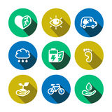 Flat vector eco multicolored icons set Stock Photo