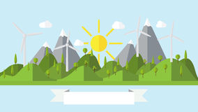 Flat vector ecology landscape island illustration with wind power plant Stock Image