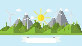 Flat vector ecology landscape island illustration with wind power plant Stock Image