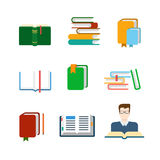 Flat vector education web app icon: lib library book reading Stock Photo