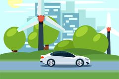 Flat vector of an electric car in front of wind turbines. City skyline in the background. vector illustration