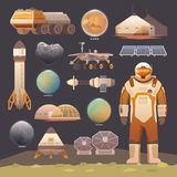 Flat vector elements. Space exploration. Royalty Free Stock Image