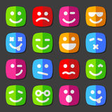 Flat vector emotion icons with smiley faces. Flat vector emotion icons with smiley, cartoon faces Royalty Free Stock Images