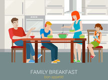 Flat vector family breakfast concept: parents children dinner Royalty Free Stock Photography