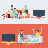 Flat vector family and couple at home interior watch TV Stock Photography