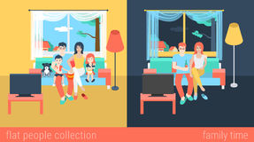 Flat vector family and couple at home interior watch TV Royalty Free Stock Images