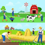 Flat vector farm profession farmer worker people web banners. Flat style set of farm profession worker people web banner hero image vector. Farmer stockbreeder Royalty Free Stock Photos