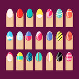 Flat vector finger design nail polish draw vector. Flat vector fingers with different colourful nail polish and drawings vector illustration set. Nail design Royalty Free Stock Photography