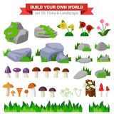 Flat vector flora collection: stone, flower, mushroom, grass Royalty Free Stock Images