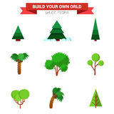 Flat vector flora plant: seasonal tree, pine, fir, coconut palm. Flat style flora plant seasonal tree nature objects icon set. Pine fir coconut palm. Build your Stock Photography