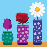 Flat Vector Flowers Royalty Free Stock Image