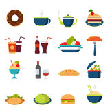 Flat vector food icons: menu, drink, restaurant, burger, bakery. Flat style fast street food drink cafe restaurant icon set. Menu eat beverage dinner lunch stock illustration