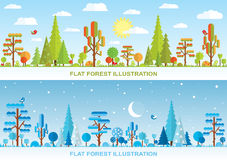 Flat vector forest illustration Royalty Free Stock Photos