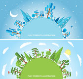 Flat vector forest illustration Royalty Free Stock Images