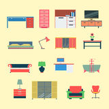 Flat vector furniture interior mobile web app website icon Royalty Free Stock Images