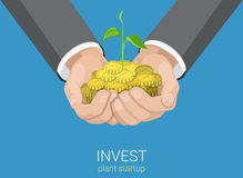 Flat vector grow business investment: growing hands coins money. Flat style grow business investment concept web infographics vector illustration. Growing plant Stock Images
