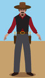 Flat Vector Gunslinger Royalty Free Stock Image