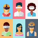 Flat vector head-mounted displays icon set Stock Photography