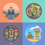 Flat vector hiking web illustrations. Stock Photography