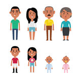 Flat Vector Hispanic Family Members. Parents, Grandparents, Children and Baby Stock Images