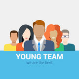 Flat vector human relations HR concept: young team staff