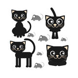Flat vector icon of a black cat sitting and looking royalty free stock photos