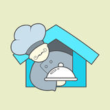 Flat vector icon of cute chef, mustaches and tray Stock Photography