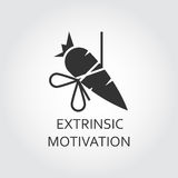 Flat vector icon extrinsic motivation as carrot on a rope. Extrinsic motivation, bait, lure as carrot on a rope. Simple black icon. Logo drawn in flat style Stock Photo