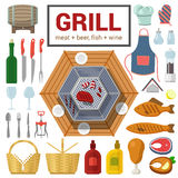 Flat vector icon of grill meat fish barbecue BBQ cooking outdoor Stock Photo