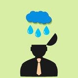 Flat vector icon man and rain clouds Stock Image