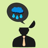 Flat vector icon man and rain clouds Royalty Free Stock Photography