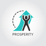 Flat vector icon of prosperity as man lifts arrow Royalty Free Stock Photography