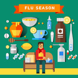 Flat vector icon set of cold and flu season. Items hot beverage tea mug, lemon fruit, honey jar, cup of chicken soup, aspirin pills, thermometer, cough syrup Royalty Free Stock Images