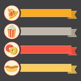 Flat vector icon set fast food with vintage ribbons Stock Images
