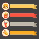 Flat vector icon set fast food with vintage ribbons Royalty Free Stock Photo