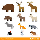 Flat vector icon wild farm domestic animal cartoon Royalty Free Stock Photo