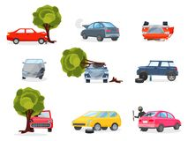 Flat vector icons of broken vehicles after road accidents. Car with punctured tire. Robber in black mask broke window in royalty free illustration