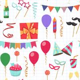 Flat vector icons Celebration party carnival festive icons set. Colorful symbols and elements - mask, gifts, presents. Celebration party carnival festive icons Stock Images