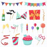 Flat vector icons Celebration party carnival festive icons set. Colorful symbols and elements - mask, gifts, presents. Celebration party carnival festive icons Royalty Free Stock Image