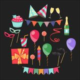 Flat vector icons Celebration party carnival festive icons set. Colorful symbols and elements - mask, gifts, presents Royalty Free Stock Photo