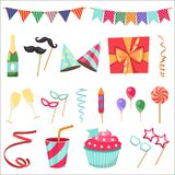 Flat vector icons Celebration party carnival festive icons set. Colorful symbols and elements - mask, gifts, presents. Celebration party carnival festive icons Stock Photo