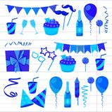 Flat vector icons Celebration party carnival festive icons set. Colorful symbols and elements - mask, gifts, presents. Celebration party carnival festive icons Stock Image