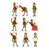 Flat vector icons of detective Sherlock in different actions thinking, reading newspaper, smoking pipe, looking into. Set with Sherlock in different actions stock illustration