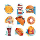 Flat vector icons with fast food and drinks. Sandwich, coffee, hamburger, pizza, tacos, donut, soda, hot dog and french Royalty Free Stock Image