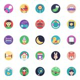 Flat Vector Icons Set Of Baby and Kids. This pack of flat icons consists of wide range of kids, babies, and children accessories. This set has toys, baby wears Royalty Free Stock Photo
