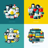 Flat vector icons set of cloud storage, social media, SEO. And responsive web design Royalty Free Stock Images