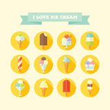 Flat vector icons set of ice creams and popsicles. Stock Photo