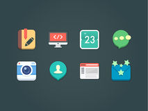 Flat vector icons for web and mobile Royalty Free Stock Photo