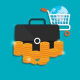 Flat vector illustration backgrounds set. Money and money making. shopping. Business. Stock Images