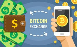 Colorful flat illustration of bitcoin exchanging on dollar cash. Mobile phone holded by human hand with bitcoins transferring vector illustration